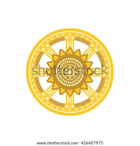 buddhism symbol dhamma wheel dharmachakra stock vector royalty free