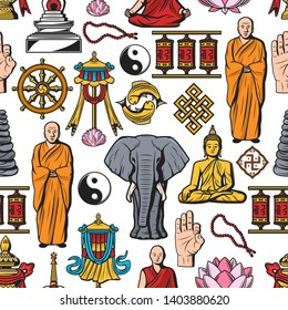 Buddhism symbols, meditation and Buddhist religion seamless pattern. Vector Buddha monk mudra with beads, Dharma wheel and Yin Yang fish sign, temple drums and elephant, swastika and lotus pattern