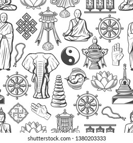 Buddhism symbols and Zen Dharma religious icons seamless pattern. Vector Buddha monk mudra, Yin Yang fish sign or temple drums, elephant and Buddhist beads, stones or swastika and lotus pattern
