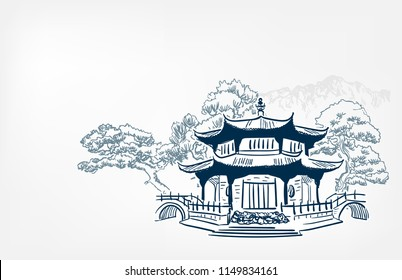 Buddhism temple card nature landscape view landscape card vector sketch illustration japanese chinese oriental line art