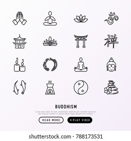 Buddhism thin line icons set: yoga, meditation, Buddha, Yin-Yang, candles, Aum letterm aromatherapy, pagoda, temple. Modern vector illustration.