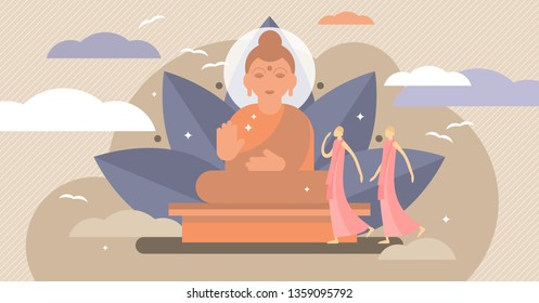 Buddhism vector illustration. Flat tiny karma religion symbol persons concept. Traditional yoga pose buddha temple. Meditating state lifestyle and faith to ethnic spirit. Theology culture philosophy.