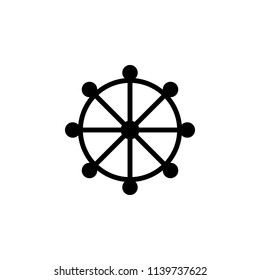 Buddhism Wheel of Drahma sign icon. Element of religion sign icon for mobile concept and web apps. Detailed Buddhism Wheel of Drahma icon can be used for web and mobile on white background