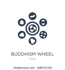 buddhism wheel icon vector on white background, buddhism wheel trendy filled icons from Food collection, buddhism wheel vector illustration