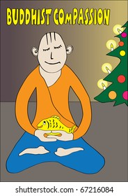 Buddhist compassion - a funny postcard Buddhist
