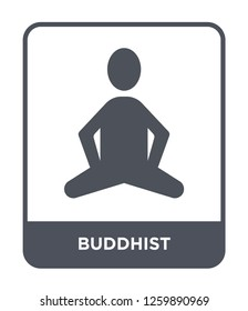 buddhist icon vector on white background, buddhist trendy filled icons from India and holi collection, buddhist simple element illustration