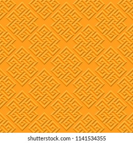 Buddhist infinite node, has no beginning and no end. One of the eight favorable symbols of Tibetan Buddhism. Vector pattern on a yellow background