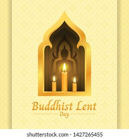 Buddhist lent day banner with yellow candle light and Buddha sign in gold window on soft yellow texture background vector design