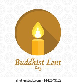 Buddhist lent day banner with yellow candle light and Buddha sign in circle on white lotus texture background vector design
