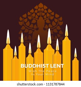 Buddhist lent day with the peace in your mind text on yellow candle light and Buddha sign vector background