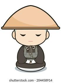 Buddhist monasticism cartoon, japanese