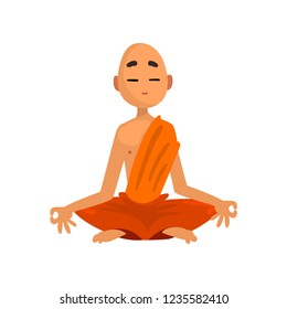 Buddhist monk cartoon character meditating in orange robe vector Illustration on a white background