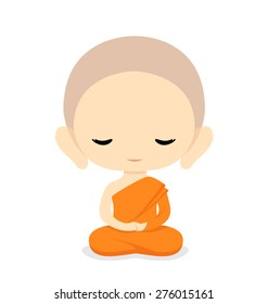 Buddhist Monk Character Design-Vector Illustration