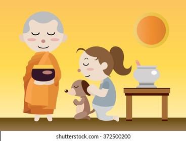 buddhist monk hold a bowl to receive meal from woman and dog