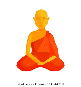 Buddhist monk icon in cartoon style isolated on white background. Religious people symbol