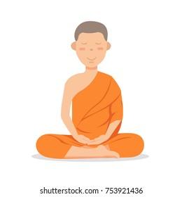 Buddhist monk in orange robes sitting in meditation. Cute cartoon tibetan monk meditating vector illustration.