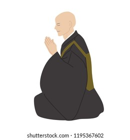 Buddhist monk reading a sutra