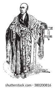 Buddhist monk, vintage engraved illustration. Dictionary of words and things - Larive and Fleury - 1895.
