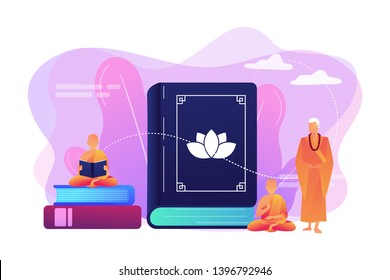 Buddhist monks in orange robes meditating and reading, tiny people. Zen Buddhism, Buddhism place of worship, buddhist holy book concept. Bright vibrant violet vector isolated illustration