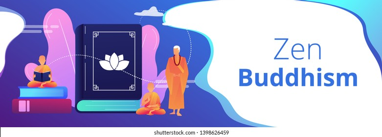 Buddhist monks in orange robes meditating and reading, tiny people. Zen Buddhism, Buddhism place of worship, buddhist holy book concept. Header or footer banner template with copy space.