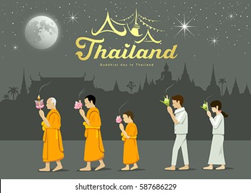 Buddhist monks and people worshipers on important Buddhist Thailand. vector illustration