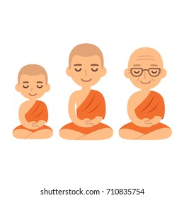 Buddhist monks sitting in meditation. Child novice, young adult and senior. Cute cartoon tibetan monks vector illustration set.
