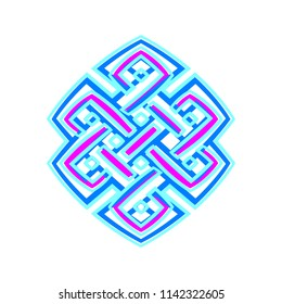Buddhist node of infinity, is a symbolic knot in Tibet and Mongolia. Used in Tibetan Buddhism. Vector illustration