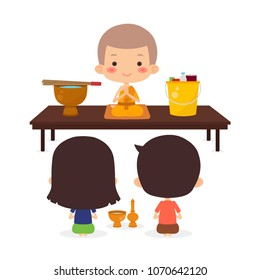 Buddhist Offering Sets Of Consuming Items  To Monk, Vector Illustration