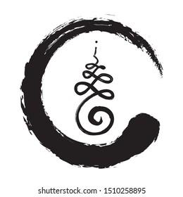 Buddhist sign for life path inside zen symbol, vector