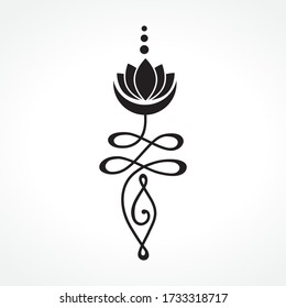 Buddhist symbol for life path with crescent moon and lotus flower, vector