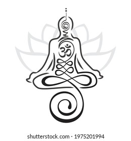 Buddhist symbol represents life's path toward enlightenment as a part of meditating person