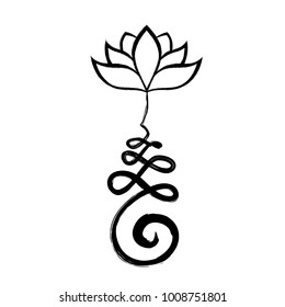 Buddhist Symbol Unalome with lotus flower