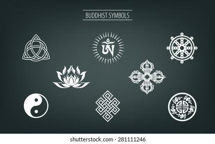 buddhist symbol vector set