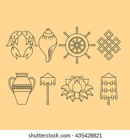Buddhist symbolism, The 8 Auspicious Symbols of Buddhism, Right-coiled White Conch, Precious Umbrella, Victory Banner, Golden Fish, Dharma Wheel, Auspicious Drawing, Lotus Flower, Vase of Treasure