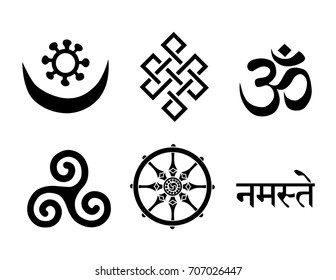 Buddhist Symbols. You Can use this signs to create logo design, wall art, handmade craft items, stationery, invitations, cards, handmade cards, announcements, scrapbook, graphic and web design, etc.