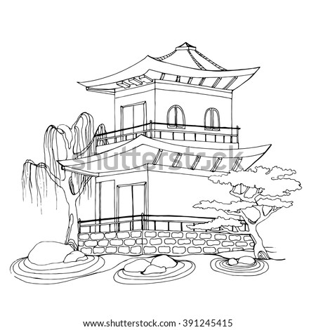 Buddhist Temple Chinese House Tibetan Temple Stock Vector Royalty
