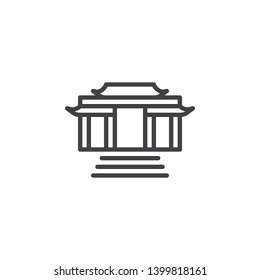 Buddhist temple line icon. linear style sign for mobile concept and web design. Kaminarimon gate outline vector icon. Symbol, logo illustration. Vector graphics