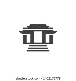 Buddhist temple vector icon. filled flat sign for mobile concept and web design. Kaminarimon gate glyph icon. Symbol, logo illustration. Vector graphics