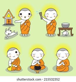 Buddhist Thai Monk Characters illustration set