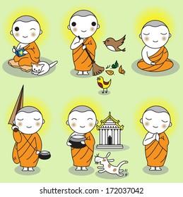 Buddhist Thai Monk Characters set illustration