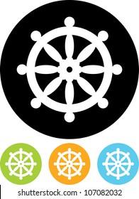 Buddhist wheel symbol - Vector icon isolated