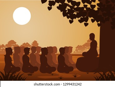 Buddhist women and men pay train meditation with monk to come to peace and out of suffer under the tree ,silhouette style vector illustration