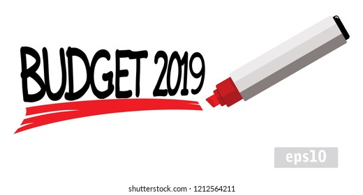 budget 2019, red marker pen