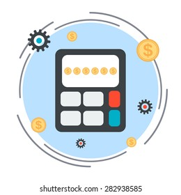 Budget calculation, financial statistics, profit counting flat design style vector concept illustration