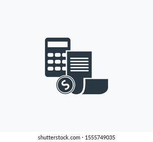 Budget calculator icon isolated on clean background. Budget calculator icon concept drawing icon in modern style. Vector illustration for your web mobile logo app UI design.