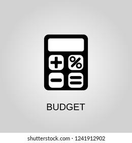 Budget icon. Budget symbol. Flat design. Stock - Vector illustration