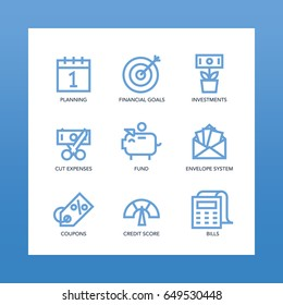 Budget Icons set. For planning, investing, banking, money making financial services and apps