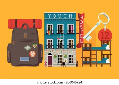 Budget low cost ravel and summer vacation graphic design elements | Youth hostel building facade, backpack, double decker bunk bed, room key | Travel and tourism business themed items