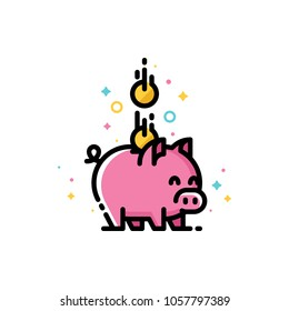 Budget or money savings concept with piggy bank and falling coins. Flat filled outline style icon. Pixel perfect. Editable stroke. Size 72x72 pixels