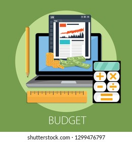 Budget planning concept in flat style. Modern design for money Budget, web sites, infographic. Vector illustration